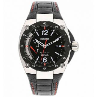Seiko Sportura Kinetic Direct Drive Black Leather Strap SRG005P2