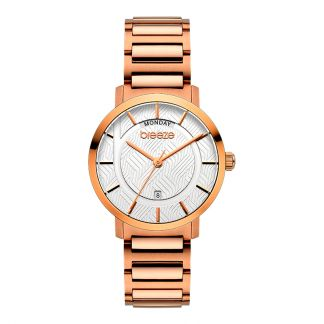 Breeze Superfect Rose Gold Stainless Steel Bracelet Silver Dial 212081.1