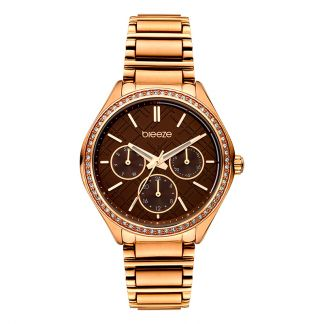 Breeze Intensifire Rose Gold Stainless Steel Crystals Brown Dial 212041.5
