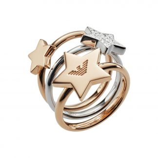 Emporio Armani Set of rings rose gold plated silver with zirconia