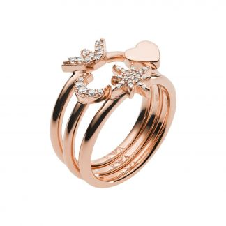 Emporio Armani Set of rings rose gold plated silver