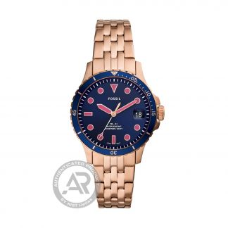 Fossil FB-01 Rose Gold Stainless Steel Blue and Pink Dial