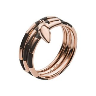Emporio Armani triple ring rose gold-plated steel with black enamel