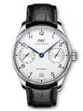 PORTUGIESER AUTOMATIC SILVER DIAL BLACK LEATHER STRAP IW500705