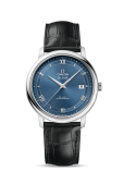 DE VILLE PRESTIGE CO‑AXIAL 39.5 MM BLUE DIAL LEATHER STRAP