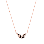 Very Gavello Angel Necklace 9k Rose Gold Black Essenza Wings