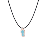 Very Gavello Tatto Cross Pendant 9k Rose Gold Turquoise Essenza